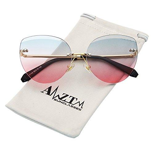 AMZTM Street Style Cat Eye Eyewear Frames Rimless Shades Fashion Butterfly Driving Glasses Gradient Ocean Lenses Womens Classic Retro Cute Sunglasses (Gradient Green Pink, - Fashion Shades For Women