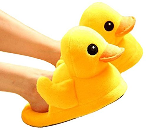 Yellow Duck Slippers (acdiac Cute big yellow Duck Plush Slippers/Winter Warm Plush Rubber Duck boots (men(us 8-10)))