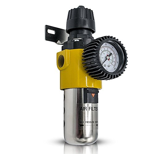 Air Compressor Regulator - Accurate Air Pressure Regulator with Gauge - Air Dryer - Air Compressor Filter Regulator - Pneumatic Inline Water and Air Seperator Filter 1/2