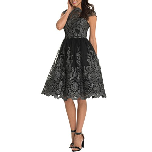 Round Pleated Skirt (ICOOLYI Women's Round Neck Vintage Short Sleeve Pleated Lace Formal Slim Dress (Small, Black01))