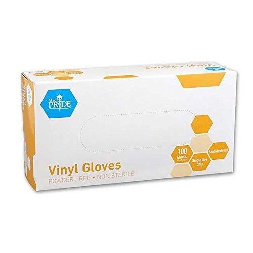 MedPride General Purpose Powder-Free Vinyl Gloves, Large, Case/1000 (10 Boxes of 100)