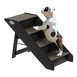 PETMAKER Folding Pet Stairs-Carpeted Foldable Durable Wood Steps-Compact, Portable, and Sturdy for Home or Travel, Dogs, Cats, Pets up to 80lbs