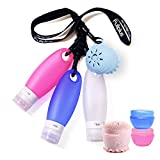 FullPlus TSA Approved Portable Leakproof Refillable Silicone Travel Bottles Set with Shower Lanyard & Facial Cleansing Brush for Gym