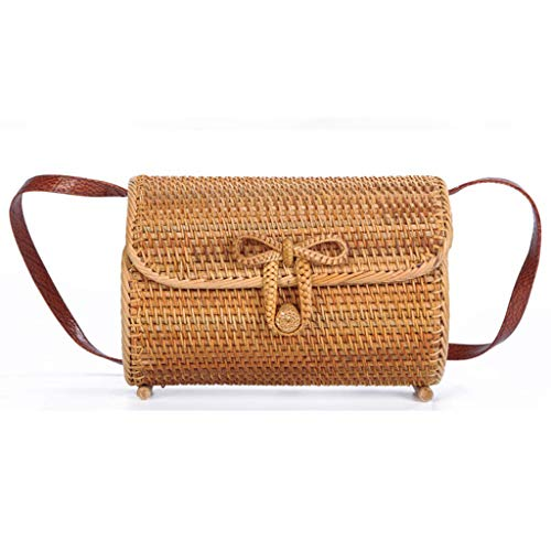 Women's Bag, Rattan Bag - Cylindrical - Slung - Beach Bag - Flower Lining - Retro Travel Bag by BHM (Image #7)