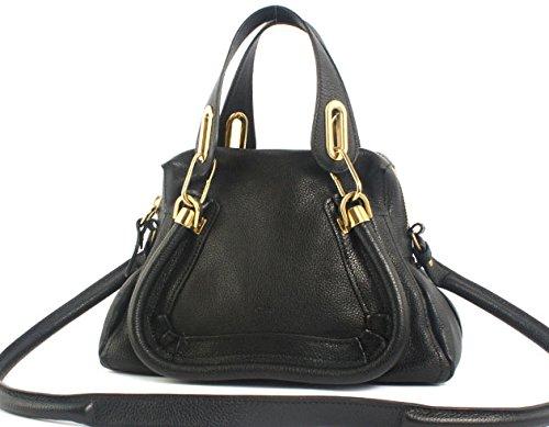 Chloe Paraty Small Leather Satchel Handbag - Black: Handbags ...
