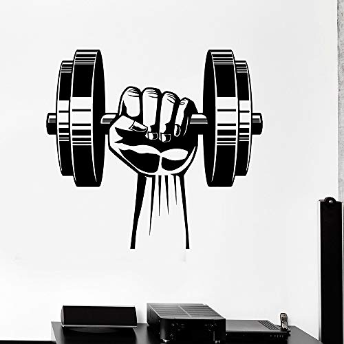 Wall Art Decal Sticker Words Wall Saying Words Removable Mural Hand Dumbbell Home Gym Decor Bodybuilding Fitness Sport Home Decor Bedroom Work Out