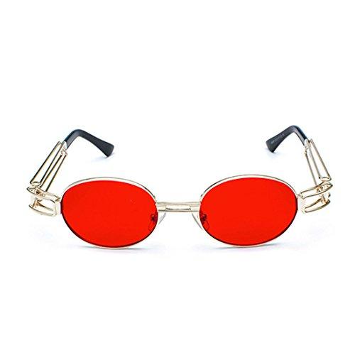 rétro dames Océan hommes Rouge Lunettes de ronde en soleil MUCHAO cadre lentille lunettes lunettes lunettes ovales claire métal zpn6xaW