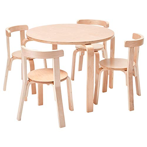 (ECR4Kids Bentwood Curved Back Chair and Table Furniture Set, Premium Kids Table and Chairs Set for Homes, Daycares and Classrooms,)