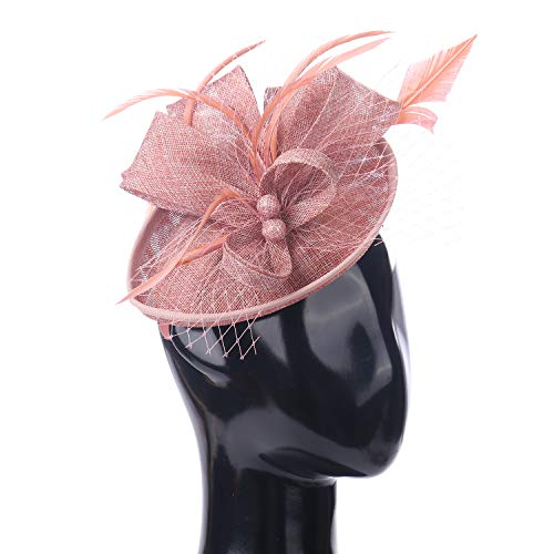 Felizhouse Fascinator Hats for Women Ladies Feather Cocktail Party Hats Bridal Headpieces Kentucky Derby Ascot Fascinator Headband (#2 Cambric Deep Pink) ()