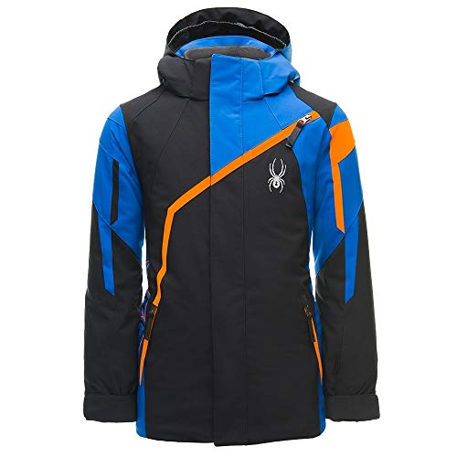 Spyder Boys' Challenger Ski Jacket, Black/Turkish Sea/Exuberance, Size 12 ()