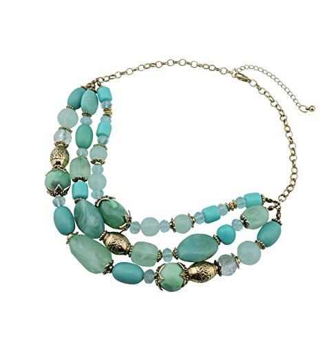 Bocar Aquamarine Seed Beads Antique Gold Multilayer Statement Collar Necklace (347) ()