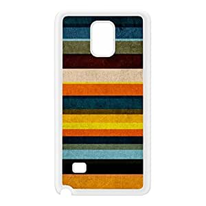 Colorful Stripes Pattern Yellows and Blues White Silicon Rubber Case for Galaxy Note 4 by UltraCases + FREE Crystal Clear Screen Protector