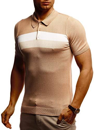 Leif Nelson Herren Poloshirts Sommer T-Shirt Polo Shirts Slim Fit aus Feinstrick Cooles weißes schwarzes Basic Männer Polo-Shirts Jungen Kurzarmshirt Kurzarm Sleeve Shirt Top LN7450