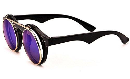 Classic Small Retro Steampunk Circle Flip Up Sunglasses Cool Retro 2017 - Glasses Steampunk Amazon