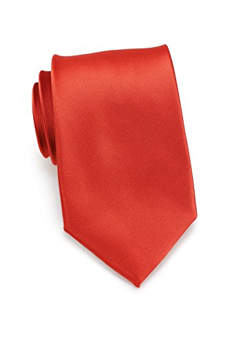 Bows-N-Ties Men's Necktie Solid Color Microfiber Satin Tie 3.25 Inches (Dark Coral) Checkered Silk Necktie Tie