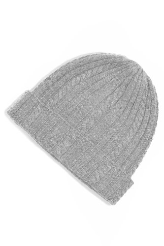 Fishers Finery 100 % Pure Cashmere Cable Knit Hat, Super Soft, Luxury Gift (Gray)