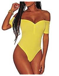 Ancapelion Women's Off Shoulder Short Sleeve Bodysuit Sexy Stretchy Bodycon Leotard Top