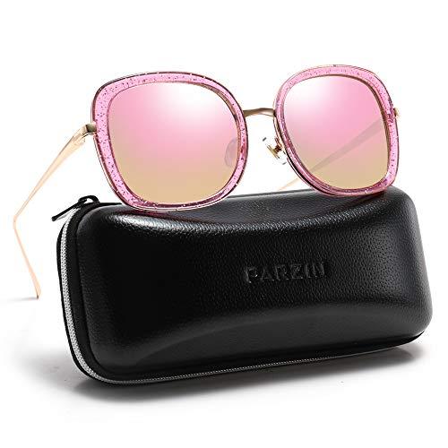 Retro Sunglasses for Women PARZIN Rectangular Polarized UV Protective ()
