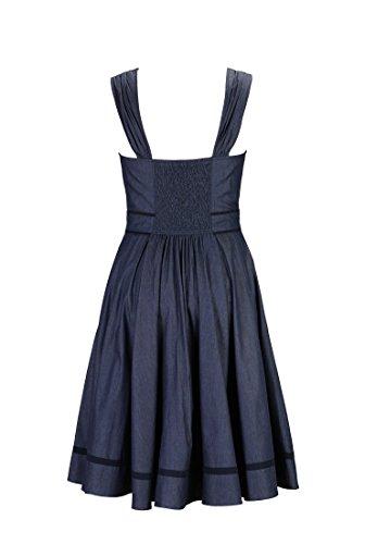 eShakti Women's Tipped trim denim sundress XL-16 Regular Deep Indigo/deep navy