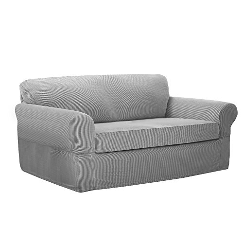 MAYTEX Connor Stretch 2-Piece Loveseat Furniture Cover/Slipcover, Grey by MAYTEX