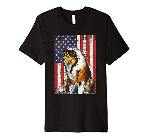American Flag Rough Collie T-Shirt Patriotic Flag Dog Gift Premium T-Shirt ()