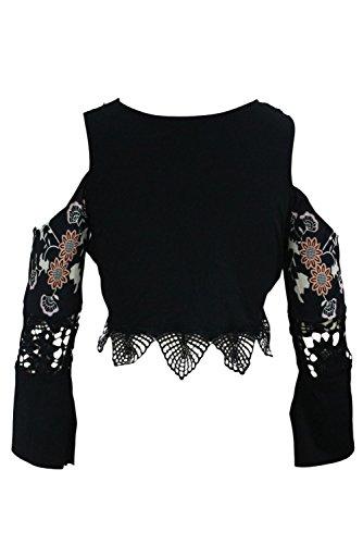 Neue Damen Schwarz Floral Print Kalte Schulter abgeschnittenes Top Club Wear Sommer Casual Tops Größe S UK 8–10EU 36–38