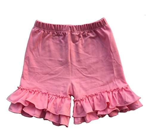 Coralup Baby & Little Girls Ruffles Cotton Shorts P6079_Pink(XXL,5-6Y) ()