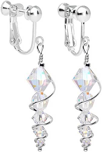 Body Candy Handcrafted Silver Plated Clear Icicle Clip On Earrings Created with Swarovski Crystals