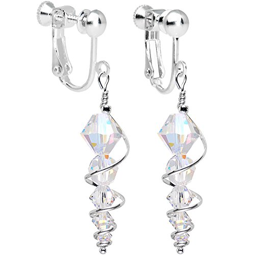 Crystal Dangle Clip Earrings (Body Candy Handcrafted Silver Plated Clear Icicle Clip On Earrings Created with Swarovski Crystals)
