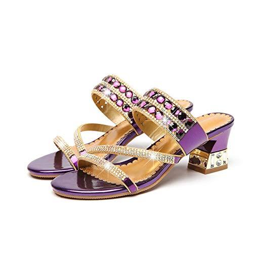 Joya Respirable Brillante Durable 3d Purple Zapatillas Mujer Sandalias Tacón Imitación De Diamante Genuina Piel Verano Alto Bling Antideslizante SwqwY74
