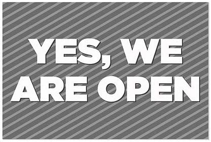   30x20 CGSignLab  Yes We are Open -Stripes Gray Clear Window Cling 5-Pack
