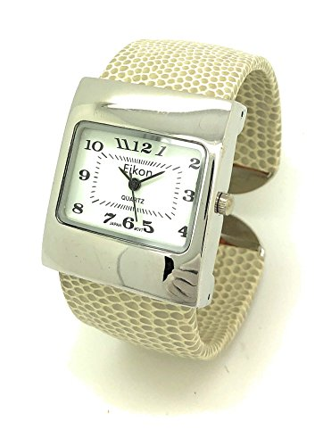 White Leather Cuff Watch - Ladies Snakeskin Leather Bangle Cuff Watch Square Case White Dial Eikon (Beige)