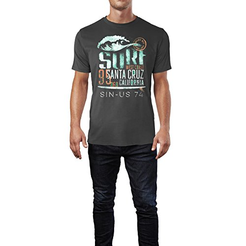 SINUS ART ® Surf Santa Cruz California Herren T-Shirts in Smoke Fun Shirt mit tollen Aufdruck