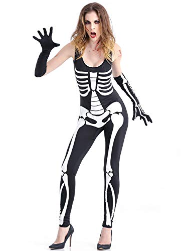 Amiliashp Halloween Costume Bodysuit Skeleton Jumpsuit Bone Print Cosplay Overall Catsuit Unitard Tights -