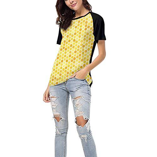 (Laki-co Women's Summer Short Sleeve - Bee Hive Casual Raglan Tee Baseball Tshirts Tops Blouse XL)