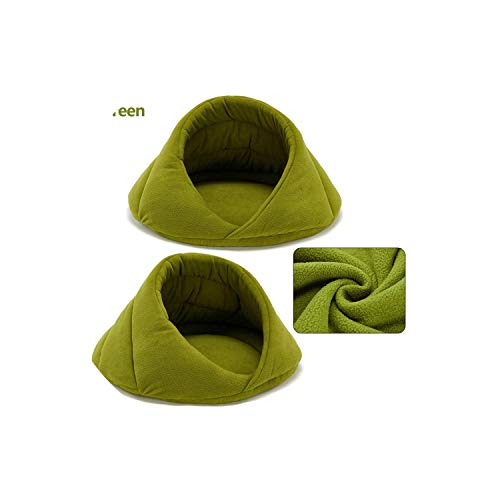 (LinJiaJia_shop Warm Dog Bed Pet Dog House Soft Suitable Fleece Cat Dog Bed House for Dog Cushion Cat Sleeping Bag Nest,Green,M 52X52X35cm)