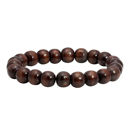 MILAKOO Mens Womens 10mm Brown Wood Beads Bracelet for Tibetan Buddhist Prayer Mala Meditation ()
