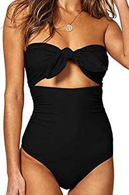 QINSEN Womens Sexy Strapless Tie Knot Front High Waist One Piece Swimsuit