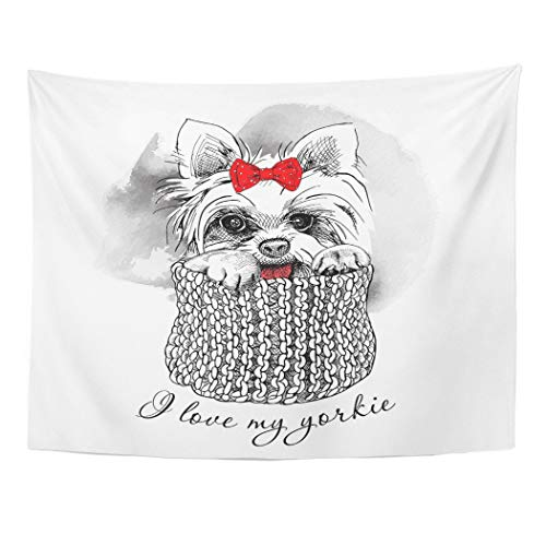 Tarolo Decor Wall Tapestry Red Cute Portrait of Dog Yorkshire Terrier Bow Knitted Scarf Yorkie Puppy 60 x 50 Inches Wall Hanging Picnic for Bedroom Living Room Dorm