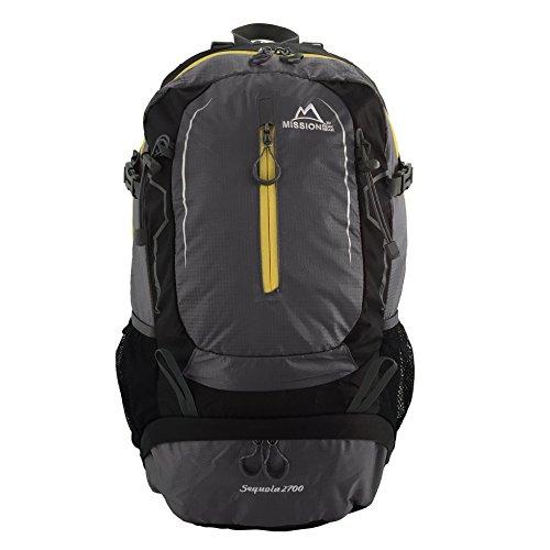 MISSION PEAK GEAR Sequoia 2700 45L Internal Frame Hiking Backpack Daypack, PFS Polymer Form Suspension, Ripstop Nylon, Waterproof Rain Cover, Trekking, Camping, Travel, Backpacking, School, Laptop Bag
