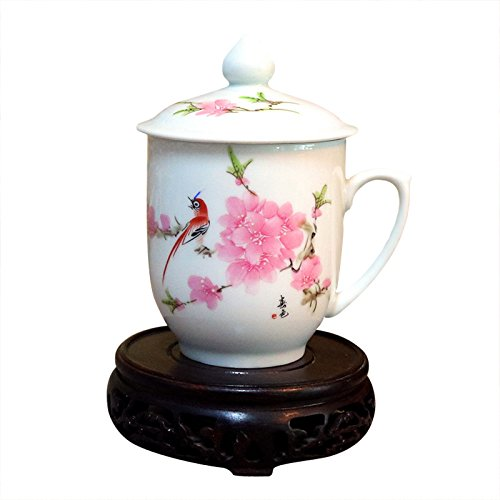 ufengke Bone China Tea Cup With Lid, Gift Cups For Girls, Hand Painted Peach And Bird, (Hand Painted China Cup)