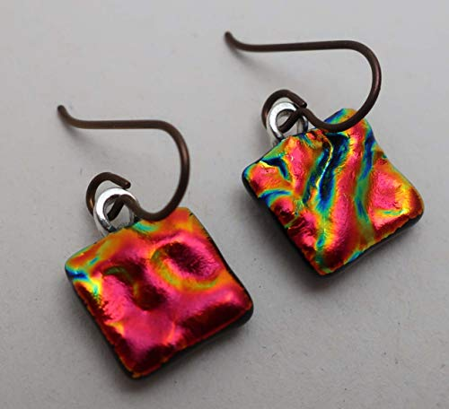 Lightweight bright red orange textured fused dichroic glass earrings Niobium ear wires #301