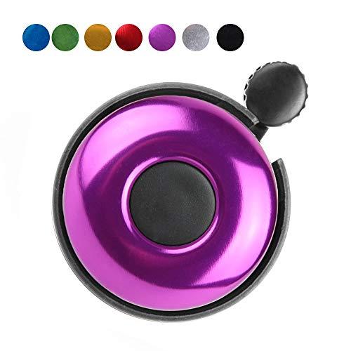 REKATA Aluminum Bike Bell, Loud Sound Bicycle Bell for Adults Kids Girls Boys(Purple)