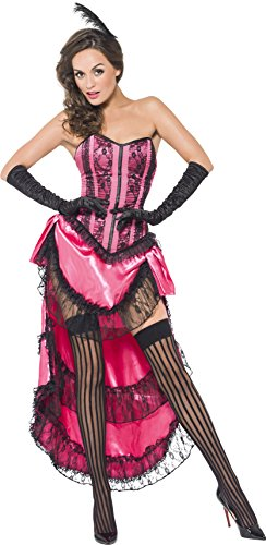 Pink Corset Dress (Smiffy's Women's Fever Can Can Diva Costume, Lace Up Corset, Skirt with Train and Headpiece, Fever, Size 10-12, 44003)
