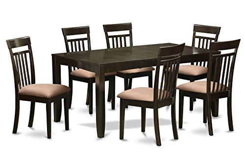 Cheap East West Furniture LYCA7-CAP-C 7-Piece Dining Table Set, Cappuccino Finish