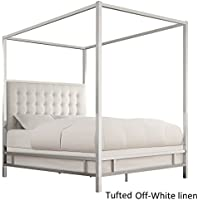 iNSPIRE Q Solivita Queen-size Chrome Metal Poster Bed by Bold White Linen Queen
