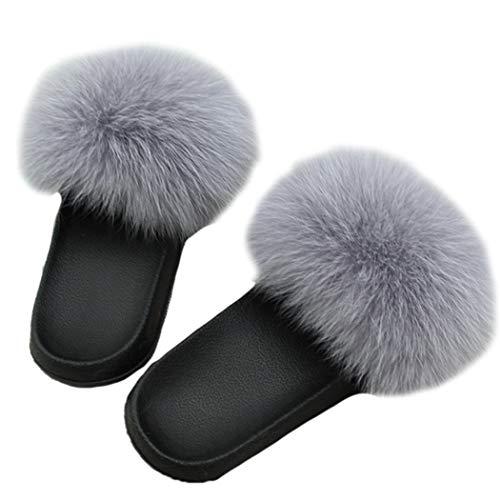 Fourrure Glissades 11 Intérieur Renard Style Sandales Pantoufles Été Dames Maison À De En Femmes Peluche Tongs xqT0Uw1Ex