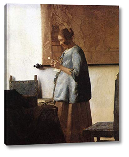 Woman in Blue Reading a Letter by Johannes Vermeer - 15
