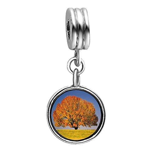GiftJewelryShop Tree In Autumn Photo Light Amethyst Crystal June Birthstone Flower Dangle Charm Bracelets
