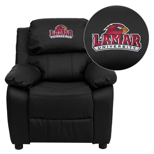 Flash Furniture Lamar University Cardinals Embroidered Black Leather Kids Recliner with Storage Arms ()